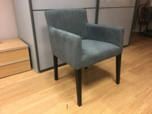 Blue carver dining chair in fabric display x6