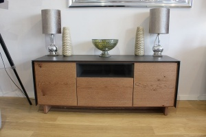 BOOK TV Stand in vintage wood display